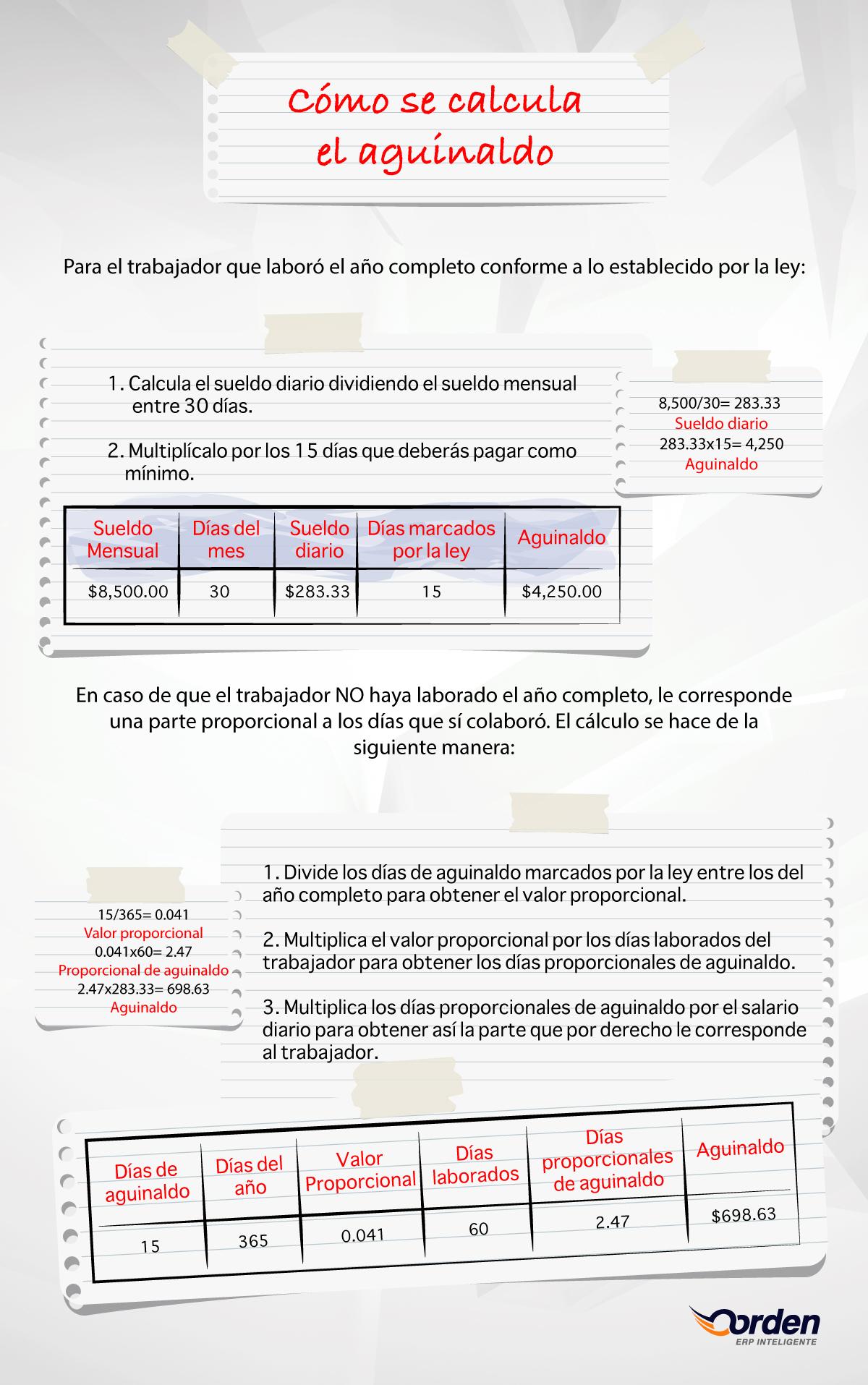 cómo se calcula el aguinaldo